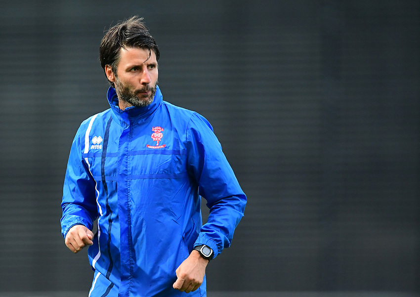 Lincoln City manager Danny Cowley during the pre-match warm-up <br /> <br /> Photographer Chris Vaughan/CameraSport<br /> <br /> The EFL Checkatrade Trophy - Mansfield Town v Lincoln City - Tuesday 29th August 2017 - Field Mill - Mansfield<br />  <br /> World Copyright &copy; 2018 CameraSport. All rights reserved. 43 Linden Ave. Countesthorpe. Leicester. England. LE8 5PG - Tel: +44 (0) 116 277 4147 - admin@camerasport.com - www.camerasport.com