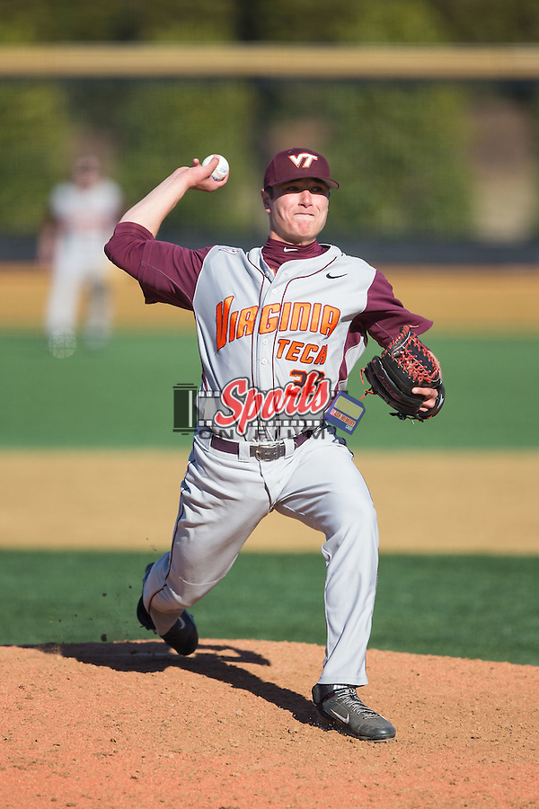 Virginia Tech Hokies relief pitcher Joey Sullivan (36) in action against the Wake Forest Demon Deacons at Wake Forest Baseball Park on March 7, 2015 in Winston-Salem, North Carolina.  The Hokies defeated the Demon Deacons 12-7 in game one of a double-header.   (Brian Westerholt/Sports On Film)