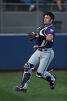 Zack Plunkett (38) of the TCU Horned Frogs chases a foul ball during a game against the Loyola Marymount Lions at Page Stadium on March 16, 2015 in Los Angeles, California. TCU defeated Loyola, 6-2. (Larry Goren/Four Seam Images)