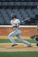 Zach Nussbaum (36) of the Davidson Wildcats follows through on his swing against the Wake Forest Demon Deacons at David F. Couch Ballpark on May 7, 2019 in  Winston-Salem, North Carolina. The Demon Deacons defeated the Wildcats 11-8. (Brian Westerholt/Four Seam Images)