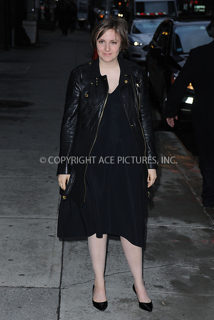 WWW.ACEPIXS.COM <br /> January 6, 2014 New York City<br /> <br /> Lena Dunham arriving to tape an appearance on the Late Show with David Letterman on January 6, 2014 in New York City.<br /> <br /> Please byline: Kristin Callahan  <br /> <br /> ACEPIXS.COM<br /> Ace Pictures, Inc<br /> tel: (212) 243 8787 or (646) 769 0430<br /> e-mail: info@acepixs.com<br /> web: http://www.acepixs.com