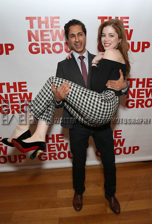 "Maulik Pancholy and Charlotte Hope attends The New Group presents the New York Premiere Opening Night of David Rabe's for ""Good for Otto"" on March 8, 2018 at the Green Fig Urban Eatery,  in New York City."