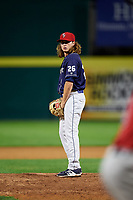 Binghamton Rumble Ponies relief pitcher Matt Blackham (26) gets ready to deliver a pitch during a game against the Portland Sea Dogs on August 31, 2018 at NYSEG Stadium in Binghamton, New York.  Portland defeated Binghamton 4-1.  (Mike Janes/Four Seam Images)