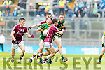 Dara Moynihan Kerry in action against Finian Ó Laoi Galway in the All Ireland Minor Football Final in Croke Park on Sunday.
