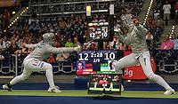 European Championships Fencing 2010 / Fecht Europameisterschaft 2010 in Leipzig - Competition Championat d'europe - im Bild: Sibylle KLEMM (GER, left) in her match during the quart final. women sabre   . Foto: Norman Rembarz..Norman Rembarz , Autorennummer 41043728 , Augustenstr. 2, 04317 Leipzig, Tel.: 01794887569, Hypovereinsbank: BLZ: 86020086, KN: 357889472, St.Nr.: 231/261/06432 - Jegliche kommerzielle Nutzung ist honorar- und mehrwertsteuerpflichtig! Persönlichkeitsrechte sind zu wahren. Es wird keine Haftung übernommen bei Verletzung von Rechten Dritter. Autoren-Nennung gem. §13 UrhGes. wird verlangt. Weitergabe an Dritte nur nach  vorheriger Absprache..