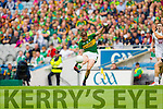 Stephen O'Brien, Kerry in action against Cathal McNally, Kildare in the All Ireland Quarter Final at Croke Park on Sunday.