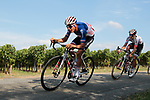 French Champion Warren Barguil and Kévin Ledanois (FRA) Arkea-Samsic in action during the Criterium Castillon La Bataille 2019 the first criterium after the Tour de France held around Ville de Castillon-la-Bataille, France. 6th August 2019.<br /> Picture: Colin Flockton | Cyclefile<br /> All photos usage must carry mandatory copyright credit (© Cyclefile | Colin Flockton)