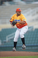 Los Rapidos de Kannapolis starting pitcher Jhoan Quijada (28) in action against the West Virginia Power at Kannapolis Intimidators Stadium on July 25, 2018 in Kannapolis, North Carolina. The Los Rapidos defeated the Power 8-7 in game two of a double-header. (Brian Westerholt/Four Seam Images)