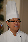 "Washington, DC - December 3, 2008 -- White House Executive Chef Cristeta ""Cris"" Comerford during a media preview of the 2008 holiday decorations and tasting event on the State Floor of the White House in Washington, D.C. on Wednesday, December 3, 2008.  The theme of this years decorations is ""a Red, White, and Blue Christmas""..Credit: Ron Sachs / CNP"