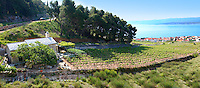 view of Bol  and its vineyards looking towards Hvar island , Bra? island, Croatia