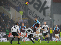 Burnley's Ashley Barnes wins a header<br /> <br /> Photographer Alex Dodd/CameraSport<br /> <br /> The Premier League - Burnley v Fulham - Saturday 12th January 2019 - Turf Moor - Burnley<br /> <br /> World Copyright © 2019 CameraSport. All rights reserved. 43 Linden Ave. Countesthorpe. Leicester. England. LE8 5PG - Tel: +44 (0) 116 277 4147 - admin@camerasport.com - www.camerasport.com