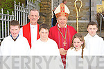 Meentogues NS Rathmore who received their Confirmation from Bishop Bill Murphy l-r: Ignatius O'Leary, Fr Larry Kelly, Lee Crancher, Kathlyn O'Leary and Shane Murphy