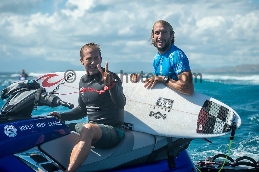 Namotu Island, Fiji (Tuesday, June 16, 2015) Glyndon Ringrose (AUS) - Owen Wright (AUS) has won the Fiji Pro in historic fashion today, claiming his second Perfect 20 of the event in the Final heat against compatriot Julian Wilson (AUS) held in pumping eight-to-ten foot (2.5 - 3 metre) barrels.<br />  <br /> Stop No. 5 of 11 on the 2015 Championship Tour (CT), the Fiji Pro, has been treated to an abundance of swell and incredible performances by the world&rsquo;s best surfers, culminating today with Wright&rsquo;s unparalleled mastery of Cloudbreak.<br />  Wright was the form surfer of the event after a series of incredible performances and huge scores, including a flawless Round 5 heat where he posted his first perfect heat total (only the then-seventh in sport&rsquo;s history). The Australian made history today by delivering another Perfect 20 in the Final, the sport&rsquo;s eighth ever perfect heat total, as the first surfer to achieve this incredible feat twice in one event.<br /> Photo: joliphotos.com