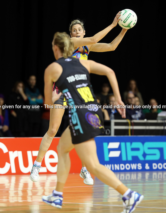 13.05.2013 Pulse's Victoria Smith in action during the ANZ Champs netball match between the Magic and Pulse played at Claudelands Arena in Hamilton. Mandatory Photo Credit ©Michael Bradley.