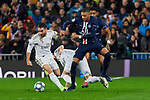 Dani Carvajal of Real Madrid and Juan Bernat of Paris Saint-Germain FC during UEFA Champions League match between Real Madrid and Paris Saint-Germain FC at Santiago Bernabeu Stadium in Madrid, Spain. November 26, 2019. (ALTERPHOTOS/A. Perez Meca)