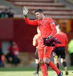 17.02.2019: Motherwell v Hearts: Colin Doyle walks over to the Hearts fans  to hold his hand up and apologise after the match