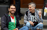 """Foreign protesters take part in during a protest against the Israeli apartheid """"Apartheid on Trial"""", and solidarity with the Palestinian people, in Berlin, Germany, on August 3, 2020. Photo by Manar Shahin"""