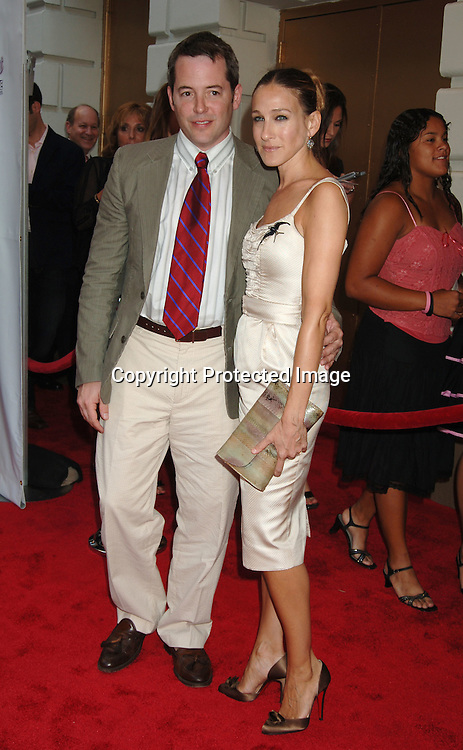 """Matthew Broderick and wife Sarah Jessica Parker..arriving for the Broadway Opening of """"Martin Short: Fame Becomes Me"""" on August 17, 2006 at The Bernard B Jacobs Theatre. ..Robin Platzer. Twin Images"""