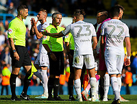 Leeds United's Kalvin Phillips remonstrates with referee Darren Bond after the match<br /> <br /> Photographer Alex Dodd/CameraSport<br /> <br /> The EFL Sky Bet Championship - Leeds United v Swansea City - Saturday 31st August 2019 - Elland Road - Leeds<br /> <br /> World Copyright © 2019 CameraSport. All rights reserved. 43 Linden Ave. Countesthorpe. Leicester. England. LE8 5PG - Tel: +44 (0) 116 277 4147 - admin@camerasport.com - www.camerasport.com