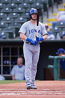 Ian Happ (8) of the Iowa Cubs stands at the plate in a game against the Oklahoma City Dodgers at Chickasaw Bricktown Ballpark on April 9, 2016 in Oklahoma City, Oklahoma.  Oklahoma City defeated Iowa 12-1 (William Purnell/Four Seam Images)