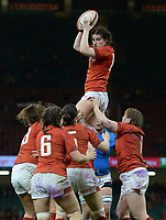 Wales Nia Elen Davies claims the lineout<br /> <br /> Photographer Ian Cook/CameraSport<br /> <br /> 2018 Women's Six Nations Championships Round 4 - Wales Women v Italy Women - Sunday 11th March 2018 - Principality Stadium - Cardiff<br /> <br /> World Copyright &copy; 2018 CameraSport. All rights reserved. 43 Linden Ave. Countesthorpe. Leicester. England. LE8 5PG - Tel: +44 (0) 116 277 4147 - admin@camerasport.com - www.camerasport.com