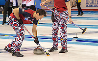 Glasgow. SCOTLAND.  Norway&rsquo;s &quot;Skip&quot; Thomas ULSRUD, vigorously sweeping a team &quot;Stone&quot; during the  &quot;Round Robin&quot; Game. Le Gruy&egrave;re European Curling Championships. 2016 Venue, Braehead  Scotland<br /> Tuesday  22/11/2016<br /> <br /> [Mandatory Credit; Peter Spurrier/Intersport-images]