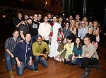 Andy Blankenbuehler, Corey Cott, Laura Osnes, Beth Leavel and  Kevin Worley with cast attend the Actors' Equity Broadway Opening Night Gypsy Robe Ceremony honoring Kevin Worley from 'Bandstand' at the Bernard B. Jacobs Theatre on 4/26/2017 in New York City.