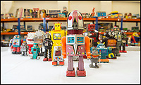 BNPS.co.uk (01202 558833)<br /> Pic: PhilYeomans/BNPS<br /> <br /> Take me to your leader - out of this world collection of rudimentary robots from the earliest days of sci-fi.<br /> <br /> The huge collection of over 500 classic sci-fi toys dates back to the 1950's and 60's and could now be worth a whopping &pound;30,000.<br /> <br /> The huge collection was started by a robot mad schoolboy in the 1950's as the Russian Sputnik satellite kick started the race for space and sparked huge interest in science fiction.<br /> <br /> The oldest items date from the late 1950's with models continuing all the way through to the 1990s with several classic favourites included.<br /> <br /> There are a number of lots related to TV classic Thunderbirds and a model of Robbie the Robot, who featured in the TV series Lost in Space and the film Forbidden Planet remains in terrific condition.