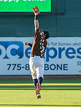 "Second baseman Jack Reinheimer makes the catch during the Reno Aces ""Star Wars Night"" game at Greater Nevada Field in Reno on Saturday, June 17, 2017."