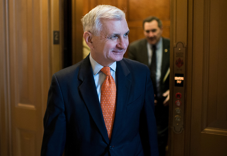 UNITED STATES - JUNE 2: Sen. Jack Reed, D-R.I., arrives for the Senate Democrats' policy lunch in the Capitol on Tuesday, June 2, 2015. (Photo By Bill Clark/CQ Roll Call)