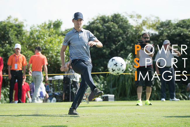 Luis Garcia kicks a football at the 14th hole during the World Celebrity Pro-Am 2016 Mission Hills China Golf Tournament on 22 October 2016, in Haikou, China. Photo by Weixiang Lim / Power Sport Images