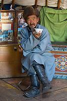 Batnasan, nomad man in yurt.