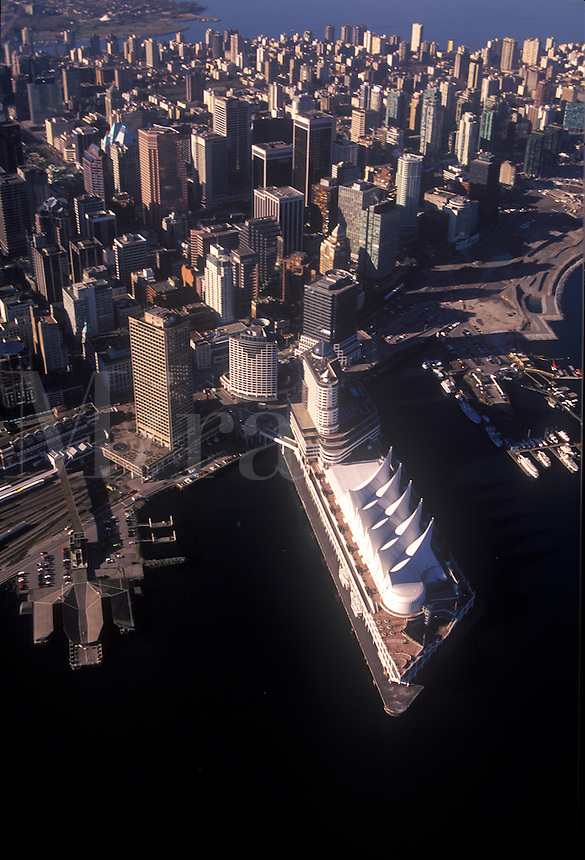 "Aerial view of """"Canada Place"""", landmark cruise ship terminal and convention center in downtown Vancouver, BC Canada"