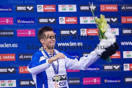 Gregorio Paltrinieri of Italy celebrates his victory in the Men's 1500m Freestyle final of the 31th European Swimming Championships in Debrecen, Hungary on May 23, 2012. ATTILA VOLGYI