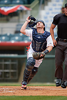Florida Fire Frogs catcher Zack Soria during a Florida State League game against the Jupiter Hammerheads on April 8, 2019 at Osceola County Stadium in Kissimmee, Florida.  Florida defeated Jupiter 7-6 in ten innings.  (Mike Janes/Four Seam Images)
