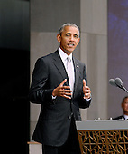 United States President Barack Obama speaks at the opening ceremony of the Smithsonian National Museum of African American History and Culture on September 24, 2016 in Washington, DC. The museum is opening thirteen years after Congress and President George W. Bush authorized its construction. <br /> Credit: Olivier Douliery / Pool via CNP