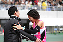 (R-L) Risa Shigetomo,  Yutaka Taketomi, JANUARY 29, 2012 - Marathon : Risa Shigetomo of Tenmaya celebrates with her team's head coach Yutaka Taketomi after winning the Osaka International Women's Marathon in Osaka, Japan. (Photo by Toshihiro Kitagawa/AFLO)