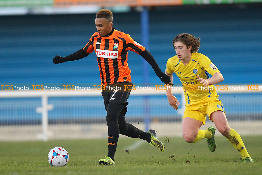 Keanu Marsh-Brown of Barnet evades Alex Woodyard of Concord Rangers - Concord Rangers vs Barnet - FA Challenge Trophy 1st Round Football at the Aspect Arena, Thames Road, Canvey Island, Essex - 13/12/14 - MANDATORY CREDIT: Gavin Ellis/TGSPHOTO - Self billing applies where appropriate - contact@tgsphoto.co.uk - NO UNPAID USE