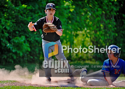 26 May 2012: The Burlington American Reds in Little League action against the Burlington American Expos at Calahan Park in Burlington, Vermont. Mandatory Credit: Ed Wolfstein Photo