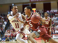 NWA Democrat-Gazette/CHARLIE KAIJO Arkansas Razorbacks guard Jalen Harris (5) drives the ball during the first half of the NCAA National Invitation Tournament, Saturday, March 23, 2019 at the Simon Skjodt Assembly Hall at the University of Indiana in Bloomington, Ind. The Arkansas Razorbacks fell to the Indiana Hoosiers 63-60.
