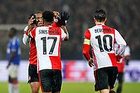 28th November 2019, Rotterdam, Netherlands; Europa League football, Feyenoord versus Glasgow Rangers;  Leroy Fer celebrates their equaliser for 2-2 scored by Feyenoord player Luis Sinisterra - Editorial Use
