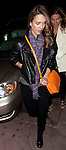 AbilityFilms@yahoo.com.805 427 3519 .www.AbilityFilms.com...April 5th 2012..Jessica Alba leaving Matsuhisa restaurant  in Los Angeles wearing a long purple scarf orange purse smiling laughing hugging friends