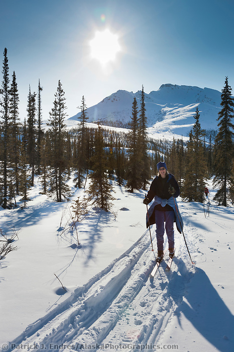 Cross country skiing near the Gates of the Arctic National Park, Arctic, Alaska.