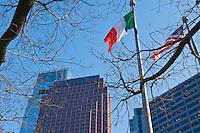 Buildings. Skyscrapers, Downtown, Phila. PA, Skyline, Flags, Four Seasons Hotel, Philadelphia, Pennyslvania
