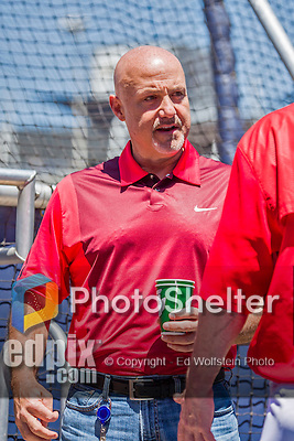 23 May 2015: Washington Nationals General Manager & President of Baseball Operations Mike Rizzo watches batting practice prior to a game against the Philadelphia Phillies at Nationals Park in Washington, DC. The Phillies defeated the Nationals 8-1 in the second game of their 3-game weekend series. Mandatory Credit: Ed Wolfstein Photo *** RAW (NEF) Image File Available ***
