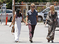 Happy family: Vanessa Hudgens seen going to church with boyfriend Austin Butler and his mom in Studio City on Sunday. Vanessa wore a tassled maxi dress and a brown suede bag. Los Angeles, California on 24.06.2012..Credit: Correa/face to face.. /MediaPunch Inc. ***FOR USA ONLY*** ***Online Only for USA Weekly Print Magazines*** *NORTEPHOTO*<br />