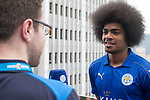 Leicester City's Hamza Dewan Choudhury (R) speaks to the media in front of Hong Kong's urban landscape to celebrate the launch of the HKFC Citi Soccer Sevens 2017 on 25 May 2017 in Causeway Bay, Hong Kong, China. Photo by Chris Wong / Power Sport Images
