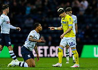 Leeds United's Ezgjan&nbsp;Alioski has a word with Preston North End's Lukas Nmecha<br /> <br /> Photographer Alex Dodd/CameraSport<br /> <br /> The EFL Sky Bet Championship - Preston North End v Leeds United -Tuesday 9th April 2019 - Deepdale Stadium - Preston<br /> <br /> World Copyright &copy; 2019 CameraSport. All rights reserved. 43 Linden Ave. Countesthorpe. Leicester. England. LE8 5PG - Tel: +44 (0) 116 277 4147 - admin@camerasport.com - www.camerasport.com