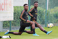 20190903 – TUBIZE , BELGIUM : Belgian Francis Amuza and Jeremy Doku are pictured during a training session of the U21 youth team of the Belgian national soccer team Red Devils , a training session as a preparation for their first game against Wales in the qualification for the European Championship round in group 9 on the road for Hungary and Slovenia in 2021, Monday 2 th September 2019 at the National training grounds in Tubize , Belgium. PHOTO SPORTPIX.BE | Sevil Oktem