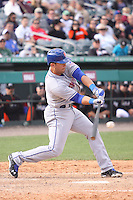 New York Mets Brandon Hicks (12) at bat against the Miami Marlins during a spring training game at the Roger Dean Complex in Jupiter, Florida on March 3, 2013. Miami defeated New York 6-4. (Stacy Jo Grant/Four Seam Images)........